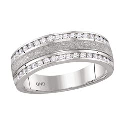 1/2 CTW Mens Round Diamond Grecco Wedding Anniversary Ring 14kt White Gold - REF-75Y5X