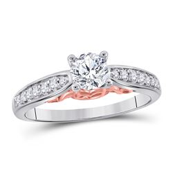 5/8 CTW Round Diamond Solitaire Bridal Wedding Engagement Ring 14kt White Gold - REF-126Y3X