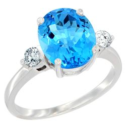2.60 CTW Swiss Blue Topaz & Diamond Ring 14K White Gold - REF-68A6X
