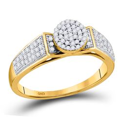 1/4 CTW Round Diamond Cradled Cluster Bridal Ring 10kt Yellow Gold - REF-18R3H
