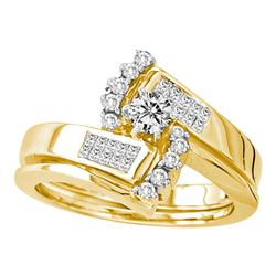 1/2 CTW Round Diamond Bridal Wedding Engagement Ring 14kt Yellow Gold - REF-81T3K