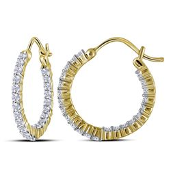 1 CTW Round Diamond Inside Outside Hoop Earrings 10kt Yellow Gold - REF-63Y5X