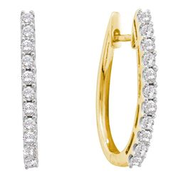 1 CTW Round Diamond Single Row Hoop Earrings 14kt Yellow Gold - REF-87T5K