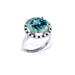 Genuine 8 ctw Blue Topaz, White & Black Diamond Ring 14KT White Gold - REF-93K3V