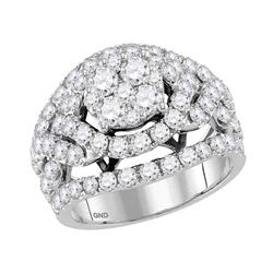 3 CTW Round Diamond Cluster Bridal Wedding Engagement Ring 14kt White Gold - REF-239H9W