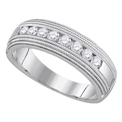 1/2 CTW Mens Round Diamond Milgrain Wedding Anniversary Ring 10kt White Gold - REF-57H3W
