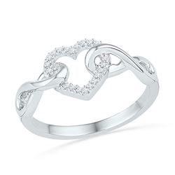 1/10 CTW Round Diamond Infinity Twist Heart Ring 10kt White Gold - REF-15K5R