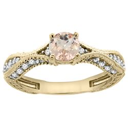 0.69 CTW Morganite & Diamond Ring 14K Yellow Gold - REF-69N2Y