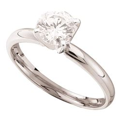 7/8 CTW Round Diamond Solitaire Bridal Wedding Engagement Ring 14kt White Gold - REF-213M6A
