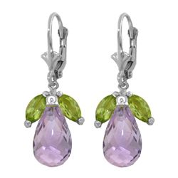 Genuine 14.4 ctw Peridot & Amethyst Earrings 14KT White Gold - REF-46F7Z