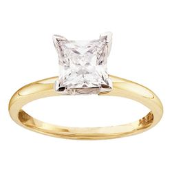 1/6 CTW Princess Diamond Solitaire Bridal Wedding Engagement Ring 14kt Yellow Gold - REF-19H2W