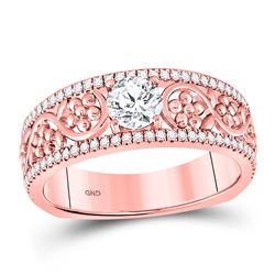 3/4 CTW Round Diamond Solitaire Floral Bridal Wedding Engagement Ring 14kt Rose Gold - REF-147N6Y