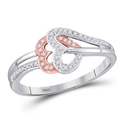 1/6 CTW Round Diamond Heart Ring 10kt Two-tone Rose Gold - REF-14T4K