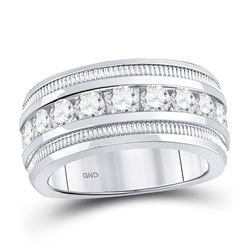 2 CTW Mens Round Diamond Single Row Fluted Wedding Ring 14kt White Gold - REF-299F9M