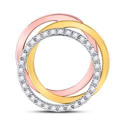 1/5 CTW Round Diamond Triple Circle Pendant 10kt Tri-Tone Gold - REF-18F3M