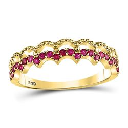 1/4 CTW Round Ruby Scalloped Stackable Ring 10kt Yellow Gold - REF-11T9K