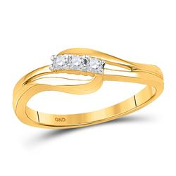 1/10 CTW Round Diamond 3-stone Bridal Wedding Engagement Ring 10kt Yellow Gold - REF-14M4A