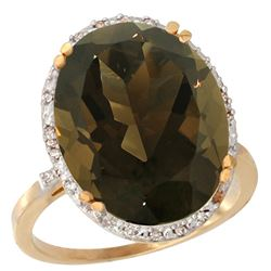 13.71 CTW Quartz & Diamond Ring 10K Yellow Gold - REF-57H6M