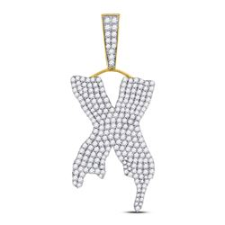 2 & 1/2 CTW Mens Round Diamond Dripping X Letter Charm Pendant 10kt Yellow Gold - REF-120R3H