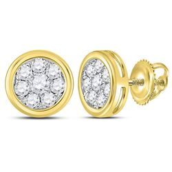 1/2 CTW Round Diamond Circle Cluster Stud Earrings 14kt Yellow Gold - REF-35X9T