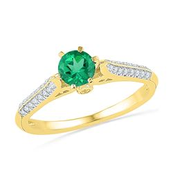 5/8 CTW Round Lab-Created Emerald Solitaire Diamond Ring 10kt Yellow Gold - REF-16F8M