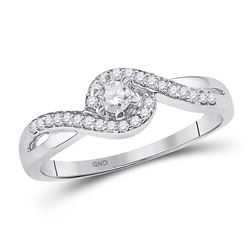 1/5 CTW Round Diamond Solitaire Swirl Promise Bridal Ring 10kt White Gold - REF-20X3T