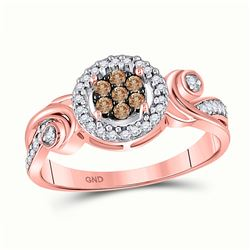 1/4 CTW Round Brown Diamond Fashion Cluster Ring 10kt Rose Gold - REF-18X3T