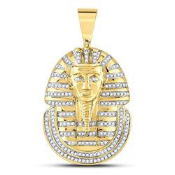 5/8 CTW Mens Round Diamond Pharaoh Face Charm Pendant 10kt Yellow Gold - REF-54K3R