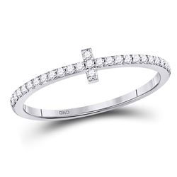 1/6 CTW Round Diamond Cross Stackable Ring 10kt White Gold - REF-14W4F