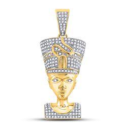 5/8 CTW Mens Round Diamond Nefertiti Pharaoh Charm Pendant 10kt Yellow Gold - REF-51X3T
