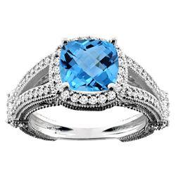 4.10 CTW Swiss Blue Topaz & Diamond Ring 14K White Gold - REF-55V3R