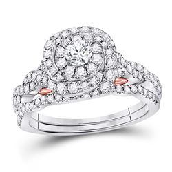 1 CTW Round Diamond Bridal Wedding Engagement Ring 14kt Two-tone Gold - REF-105K5R