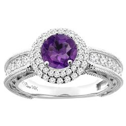 1.25 CTW Amethyst & Diamond Ring 14K White Gold - REF-91R6H