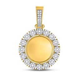 2 CTW Mens Round Diamond Circle Cluster Picture Memory Pendant 10kt Yellow Gold - REF-149A9N