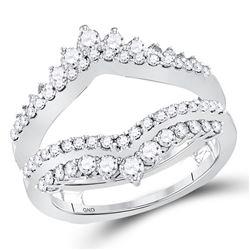 1 CTW Round Diamond Wrap Ring 14kt White Gold - REF-83T9K