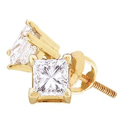 1 CTW Unisex Princess Diamond Solitaire Stud Earrings 14kt Yellow Gold - REF-137A9N