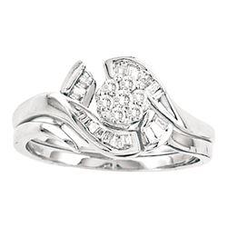 1/3 CTW Round Diamond Cluster Bridal Wedding Engagement Ring 14kt White Gold - REF-39N6Y