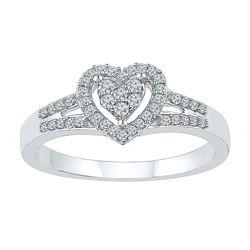 1/5 CTW Round Diamond Heart Ring 10kt White Gold - REF-18W3F