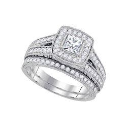 1 & 1/4 CTW Princess Diamond Halo Bridal Wedding Engagement Ring 14kt White Gold - REF-185K9R