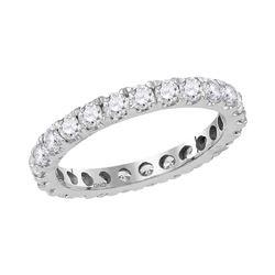 1 & 1/2 CTW Round Diamond Eternity Wedding Anniversary Ring 14kt White Gold - REF-99F6M