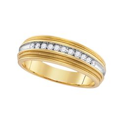 1/4 CTW Mens Round Diamond Two-tone Milgrain Wedding Anniversary Ring 10kt Yellow Gold - REF-24A3N