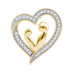 1/10 CTW Round Diamond Heart Mother Child Embrace Pendant 10kt Yellow Gold - REF-9A6N