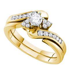 1/2 CTW Round Diamond Bridal Wedding Engagement Ring 14kt Yellow Gold - REF-77R9H
