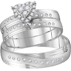 1/4 CTW His & Hers Round Diamond Heart Matching Bridal Wedding Ring 14kt White Gold - REF-54A3N