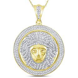 1 CTW Mens Round Diamond Gorgon Medusa Circle Medallion Charm Pendant 10kt Yellow Gold - REF-75R5H