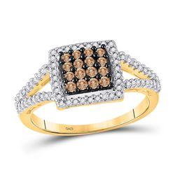 1/2 CTW Round Brown Diamond Square Cluster Ring 10kt Yellow Gold - REF-24R3H