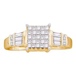 1/2 CTW Princess Diamond Cluster Bridal Wedding Engagement Ring 14kt Yellow Gold - REF-47A9N