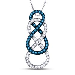 1/4 CTW Round Blue Color Enhanced Diamond Linked Infinity Pendant 10kt White Gold - REF-15W5F