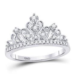 1/5 CTW Round Diamond Crown Tiara Cocktail Ring 10kt White Gold - REF-19F2M