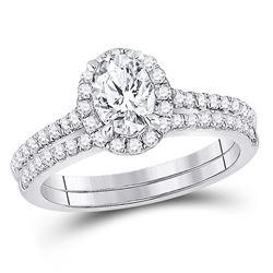 1 & 1/3 CTW Oval Diamond Bridal Wedding Engagement Ring 14kt White Gold - REF-264X3T
